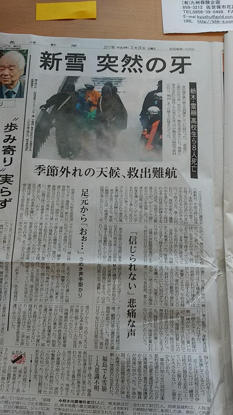 栃木で雪崩